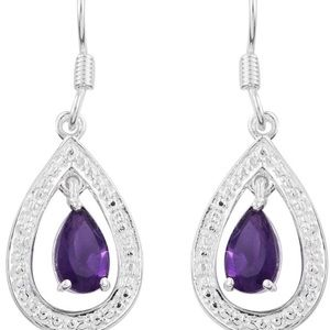 NEW Faceted Purple Amethyst 925SS Drop Earrings
